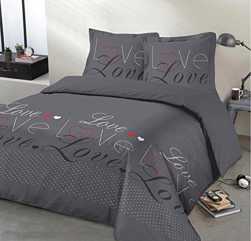 Vision Housse de Couette - Love Anthracite - 260x240cm - 100% Coton
