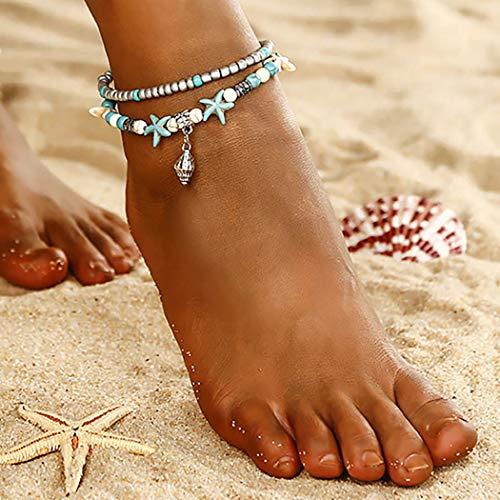 Sethexy Boho Layered calzerotto Stella marina Spiaggia calzerotto Multilayer Conchiglia Perline boemo Gioielli per i piedi per donne e ragazze