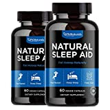 Natural Sleep Aid with Melatonin – 60 Count (Pack of 2) GABA and Valerian Root   Passion Flower & Hops   Skullcap & Chamomile   Supplement for Adults to Fall Asleep Fast – Sleeping Pills Alternative