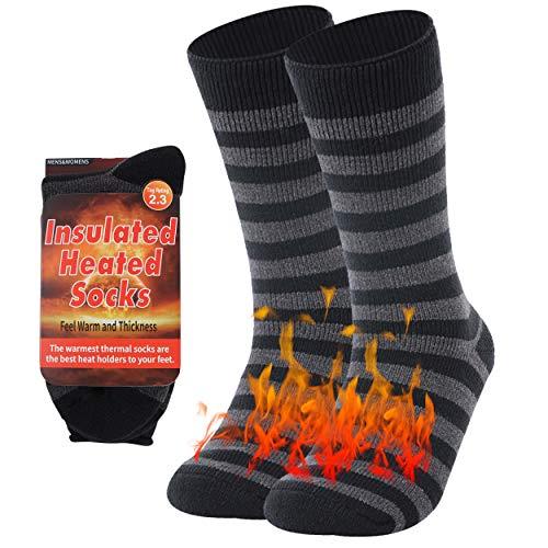 Winter Socks Women Thermal, RTZAT Winter Thermal Padded Long Fleece Heated Slippers Women Extreme Cold Weather Wool Work Boot Fuzzy Socks, Medium, 1 Pair, Striped Black