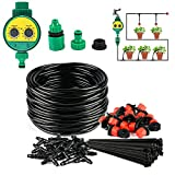 GWOKWAI Irrigation System with Digital Timer, 82ft Automatic Garden Distribution Tubing Watering Drip Kit Mist Irrigation Equipment Set with Adjustable Nozzles for Garden Flower Bed Lawn