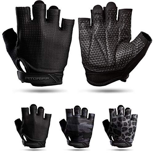 Fitgriff® Trainingshandschuhe V3 für Damen und Herren - Fitness Handschuhe für Krafttraining, Kraftsport, Training - Gym Workout Gloves (Full Black, 9)