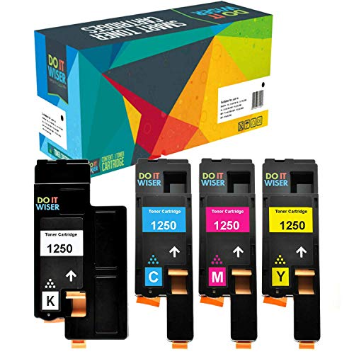Do it Wiser Compatible Printer Toner Cartridge Replacement for Dell C1760nw C1765nfw 1250c 1350cnw 1355cn 1355cnw C1765nf - 810WH Black, C5GC3 Cyan, XMX5D Magenta, WM2JC Yellow (4-Pack)