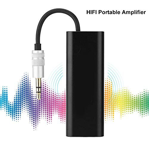 Mavis Laven draagbare mini HiFi-stereo hoofdtelefoonversterker, 3,5 mm AUX-digitale stereo hoofdtelefoon-audioverversterker AMP met kabel voor mobiele telefoon-pc, zwart