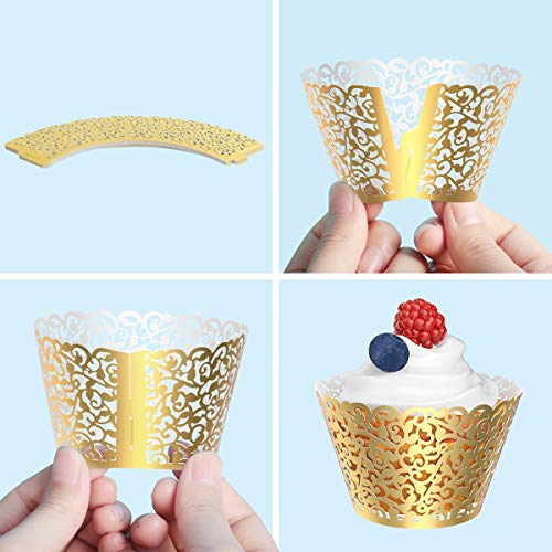 decoraci/ón de fiesta corte l/áser Gospire 50 piezas de envoltorio para cupcakes de boda