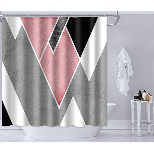 """Irongarden Pink Gray Shower Curtain Abstract Triangle Striped Pattern Fashion Waterproof Polyester Bathroom Decor with Hooks Set 72"""" x 72"""" Black White"""