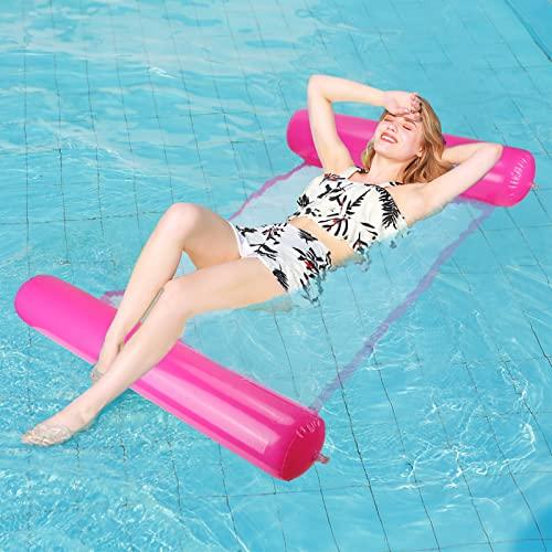 Sinwind Aufblasbares Schwimmbett, Wasser-Hängematte 4-in-1Loungesessel Pool Lounge luftmatratze Pool aufblasbare hängematte Pool aufblasbare hängematte für Erwachsene und Kinder (pink)
