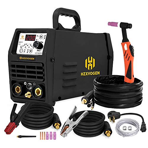 HZXVOGEN 110V/220V Tig Welder Pulse 200A Dual Voltage Arc Stick MMA Inverter IGBT Digital Welding Machine High Frequency Digital Control (TIG200P)