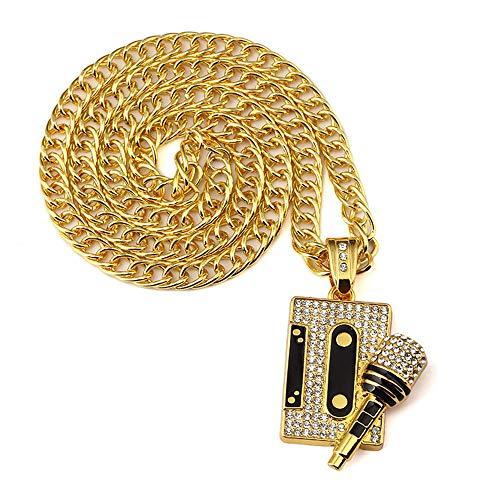 Heren Hip Hop Persoonlijkheid Voice Rock Muziek Tape Microfoon Hanger Ketting Jongens Trendy Strass Sieraden Gift