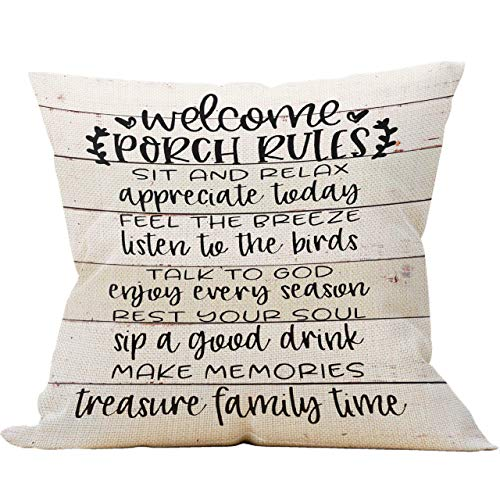 Porch Rules Rustic Wood Throw Pillow Case,Housewarming Gift,18 x 18 Inch Farmhouse Porch Decor Cushion Cover for Sofa Couch Bed