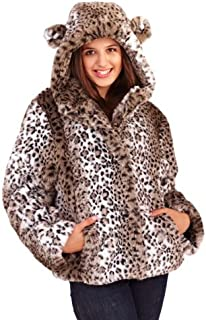 b1e3c9bb42ae LD Outlet WOMENS LADIES LUXURY FAUX FUR COAT SHORT HOODED JACKET ANIMAL  PRINT WITH EARS WINTER