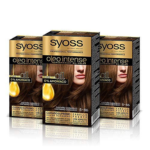 Syoss Oleo Intense - Tinte 5-86 Castaño Caramelo – Coloración permanente Sin Amoníaco – Cobertura profesional de canas – Resultados de peluquería (Pack De 3)