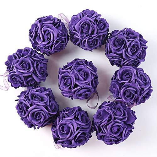 idyllic 9pcs Rose Flower Foam Kissing Balls for Bridal Wedding Centerpiece Party Ceremony Decoration 3.5 Inches (Purple)
