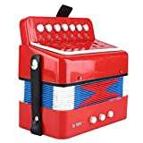 Boquite Acordeón Profesional, 7 Teclas 2 Bajos Mini pequeño acordeón Instrumento Musical Educativo Juguete de Ritmo para niños(Rojo)