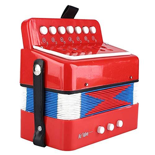 Kinder Akkordeon, 7-Tasten 2 Bass Spielzeug Knopf Akkordeon Mini Akkordeon für Kinder Kinder Pädagogisches Musikinstrument(rot)