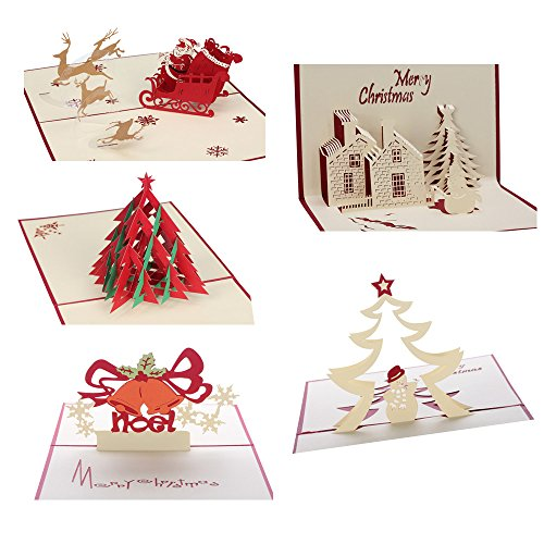 CAMTOP 3D Christmas Cards Pop Up Greeting Holiday Cards Gifts for Xmas/New Year