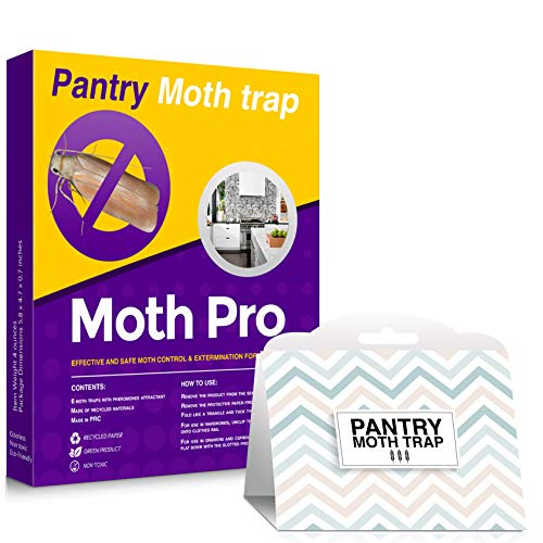 153 MothPro Effective Pantry Moth Traps – OdorFree EcoFriendly Food Moth Traps with Natural Pheromone Attractant for Kitchen Pantries – Advanced Natural Formula – Fast Result Guaranteed 6Pack