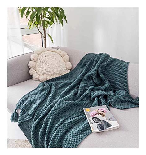 LYQZ Weich Böhmische Art-Reine Farben-Acryl-Decke mit handgemachtem Quasten, Geeignet for Schlafsofa Couch, 51 X 67inch