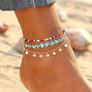 Handcess - Cavigliere Boho a strati di turchese con paillettes dorate, con nappe, cavigliere, perline da spiaggia, per don...