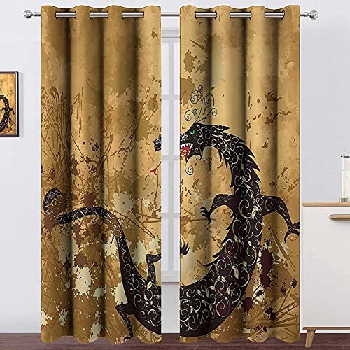 """Blackout Curtain Panels Window Draperies Dragon,Reptile Dragon Grunge Floral Ornate Ancient Asian Retro Image,Sand Brown Light Caramel Brown,Blackout Draperies for Bedroom Living Room 84""""x84"""""""