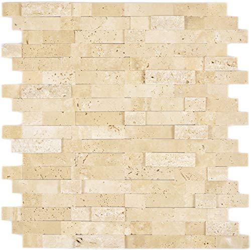 Selbstklebnde Mosaikmatte Verbund Naturstein Travertine beige für WAND KÜCHE Wandverblender Fliesenspiegel Verkleidung | 10 Matten
