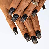Woeoe Glossy Square Press on Nails Black Long Acrylic Fake Nails Full Cover...