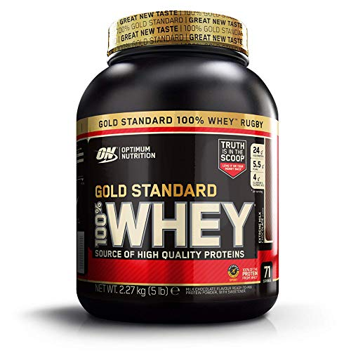 Optimum Nutrition Gold Standard Whey Muscle Building and Recovery Protein Powder with Glutamine and Amino Acids, Extreme Milk Chocolate, 71 Servings, 2.27 kg, Packaging May Vary