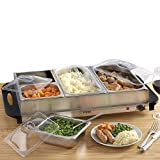 Cooks Professional Buffet Server Hotplate Food Warmer with 4 Removable Sections & Adjustable Temperature...