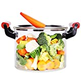5L Glass Saucepan with Cover, Heat Resistant Glass Pots and Pans Set, Glass Cookware for Stovetop,...