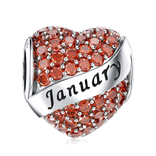 January Birthstone Charms 925 Sterling Silver Birthday Gift for Bracelet Heart Bead