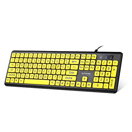 SurnQiee Large Print Computer Keyboard, Wired USB Visually Impaired Keyboard, High Contrast Black and Yellow Keys Makes Typing Easy, Perfect for Seniors and Those Just Learning to Type