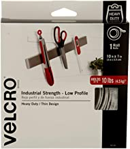 VELCRO Brand Industrial Fasteners Low Profile Thin Design | Professional Grade Heavy Duty Strength Holds up to 10 lbs on Smooth Surfaces | Indoor Outdoor Use, 10ft x 1in, Tape