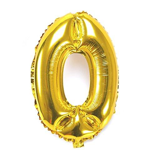 Souarts Ballon Gonflable Forme Chiffre 0 pour Anniversaire Fete Mariage Enfant Couleur Dore 44cmx31cm 1PC