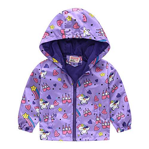 Surwin Giacca a Vento Neonato Cappuccio per Bambino Ragazzi e Ragazz, Giacche Bambini Invernale Autunno Capispalla Jacket Stampato Cappuccio (Unicorno Viola,130)