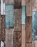 17.7'x197' Wood Plank Wallpaper Wood Wallpaper Stick and Peel Wood Paper Self Adhesive Wallpaper Removable Wallpaper Wood Look Wallpaper Rustic Vintage Reclaimed Distressed Wood Wallpaper Roll Faux 3D