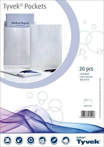 Tyvek 00067175 Versandtasche C4 (229x324 mm), weiß, haftklebend, 20 Stück