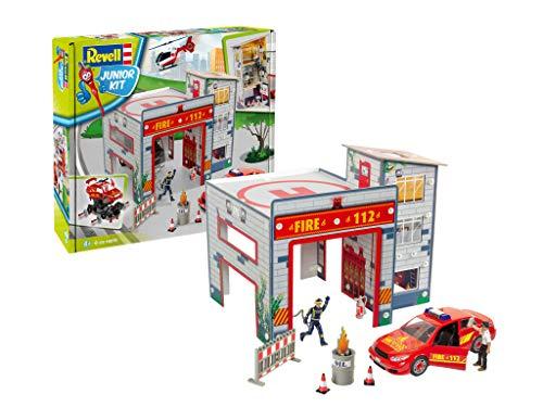 Revell Junior Kit 00850 Spielset Feuerwache 4 Robust zum Basteln und Spielen Im Maßstab 1:20 Level 1Modellbausatz für Kinder zum Schrauben