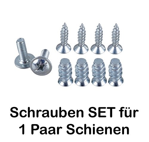 SCHRAUBEN-SET für 2 Schienen Teilauszug Rollenauszug Kugelführung Schienensystem / 2x M4 / 4 x Euro-Schrauben/4 Holzschrauben