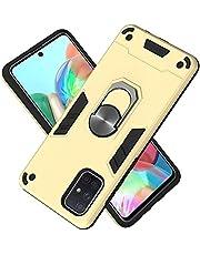 Funda para Samsung Galaxy A71 Soft TPU + Duro PC Doble Parachoques Cubierta a Anillo Soporte con Soporte y Carcasa Desmontable, Funda Protectora Serie Armadura (Dorado)