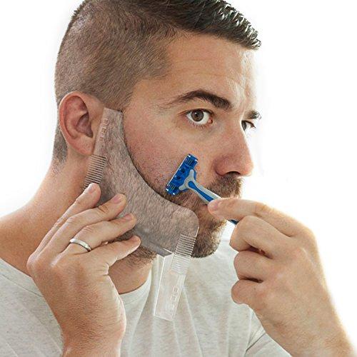 Ceramics Bartschablone mit integriertem Bartkamm, Rasierhilfe und Bart Styling Toll – Schablone zum Rasieren symmetrischer Bärte, Konturen oder Bartlinien – für Nass- und Trockenrasur – Bart Vorlage
