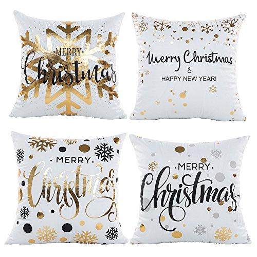 Fairy Love bronzante Nouvel An Noël Patter décoratifs taies d'oreiller avec fermeture éclair Canapé Home Lancer taies d'oreiller 18 x 18 \