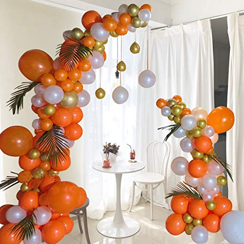 Kalapaty Orange Balloons Arch Garland Kit 102 pcs Metallic Gold, Pearl White, Orange Balloon Garland for Wedding Bridal Baby Shower Birthday Party Decorations Supplies Balloon (Orange)