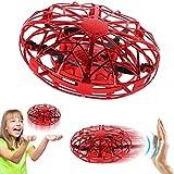 Levitazione quadrupla a induzione mini drone ufo con 5 sensori a infrarossi equipaggiati, regali di giocattoli volanti per bambini per ragazze (rosso)