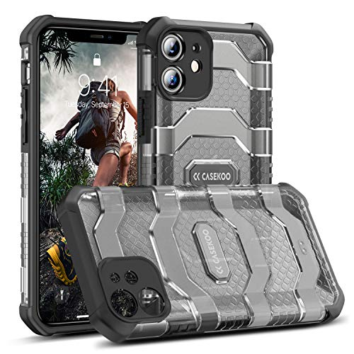 CASEKOO Defense Armor iPhone 11 Case, [Military Grade Drop Tested] Shockproof Protective Case with Hard PC Cover & [360° Camera Protection] Heavy Duty Case for iPhone 11, 6.1''- (Translucent Black)