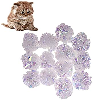 Childplaymate Mylar Crinkle Balls Cat Toys Interactive Crinkle Cat Toy Balls Stress Buster Toy for Pet Kitten- 12 Pack  01
