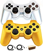 Molgegk PS3 Controllers Compatible with Playstation 3 Controllers, Replacement for Playstation 3 Controller, Controllers Wireless Gaming Gamepad Joystick with Dual Shock Six-axis(Gold and Silver)