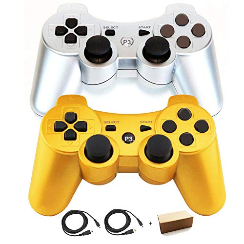 PS3 Controllers for Playstation 3 Dualshock Six-axis, Wireless Bluetooth Remote Gaming Gamepad Joystick Includes USB Cable (Sliver and Gold,Pack of 2)