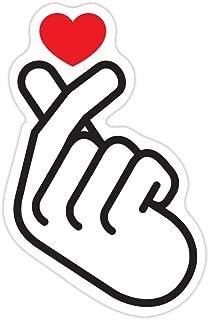 Kpop Finger Heart Love Saranghae Korean 4 inch Premium Waterproof Vinyl Decal Stickers for Laptop MacBook Phone Tablet Helmet Car Window Bumper Mug Tuber Cup Door Wall Decoration Tumblers Hydro Flask