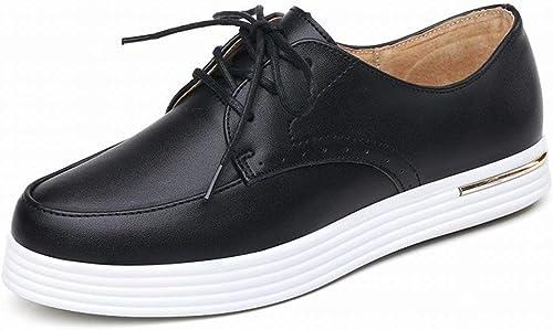 Fuxitoggo All-Match Leather chaussures Chaussures Plates décontractées Chaussures étudiantes Chaussures Chaussures Confortables (Couleuré   Noir, Taille   EU 40)  parfait