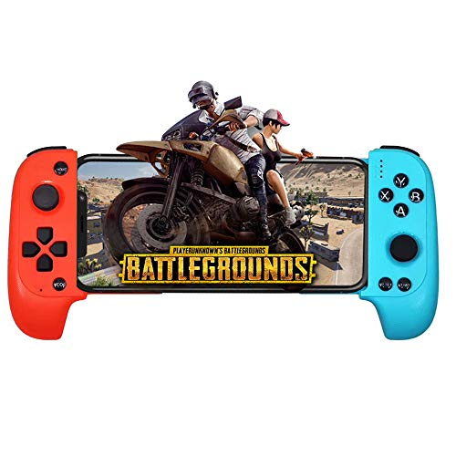 XFUNY Mobile Game Controller, Telescopic Wireless Bluetooth Controller Gamepad for Android Phone, with Flexible Joystick (Blue+Red)